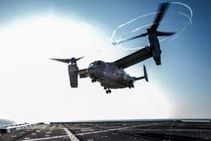 28823An MV-22B Osprey takes flight to transport Marines to conduct a tactical recovery of aircraft and personnel training mission during the Amphibious Squadron 5 and 11th Marine Expeditionary Unit Integration exercise aboard amphibious transport dock ship USS Somerset (LPD 25) July 16, 2016. PMINT is a 2-week training evolution between the Makin Island Amphibious Ready Group and 11th MEU, allowing Marines and sailors to combine and employ their forces together for their first at-sea period in preparation for their Western Pacific 16-2 deployment. The Marines are with Alpha Co., Battalion Landing Team 1st Bn., 4th Marines; the Osprey and its crew are with Marine Medium Tiltrotor Squadron 163; both are currently assigned to the 11th MEU. (U.S. Marine Corps Photo by Lance Cpl. Zachery C. Laning/Released)003801_3f59e3086e_o