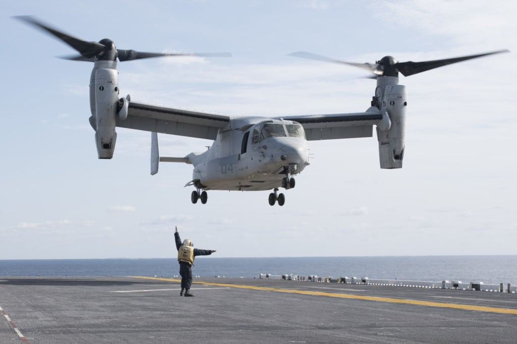 170205-N-XT039-329 PHILIPPINE SEA (Feb. 5, 2017) An MV-22B Osprey, assigned to the Flying Tigers of Marine Medium Tiltrotor Squadron (VMM) 262, takes off from the flight deck of amphibious assault ship USS Bonhomme Richard (LHD 6). Bonhomme Richard is conducting unit-level training to ensure warfighting readiness in preparation for a routine patrol in support of security and stability in the Indo-Asia Pacific region. (U.S. Navy photo by Mass Communication Specialist Seaman Apprentice Jesse Marquez Magallanes/Released)