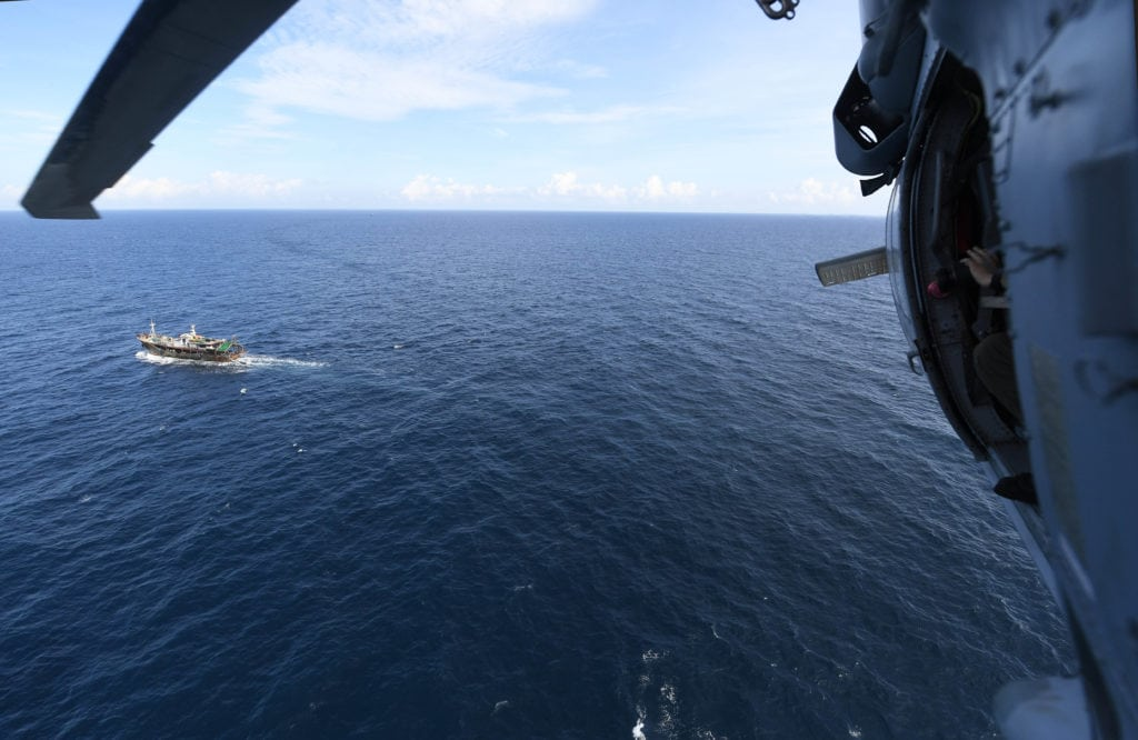 170220-N-WV703-036 SULU SEA (Feb. 20, 2017) An MH-60S Sea Hawk helicopter embarked aboard the littoral combat ship USS Coronado (LCS 4) identifies fishing vessels during routine operations in the Sulu Sea near the Balabac Strait. The Sea Hawk is a part of Coronado's Surface Warfare mission package that makes the ship specifically well-equipped for maritime security, including counter-piracy operations. Coronado is a fast and agile warship tailor-made to patrol the region's littorals and work hull-to-hull with partner navies, providing 7th Fleet with the flexible capabilities it needs now and in the future. (U.S. Navy photo by Mass Communication Specialist 2nd Class Amy M. Ressler/Released)