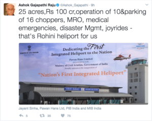 Tweet SS from Minister of Aviation