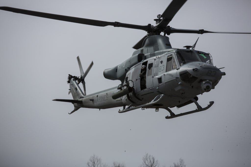 A UH-1 Huey with Marine Light Attack Helicopter Squadron (HMLA) 269 lands during a cold weather exercise at Fort Drum, N.Y., March 13, 2017. HMLA-269 participated in the cold weather training to develop skills and better prepare the unit for extreme weather conditions. (U.S. Marine Corps Photo by Lance Cpl. Zachary M. Ford)