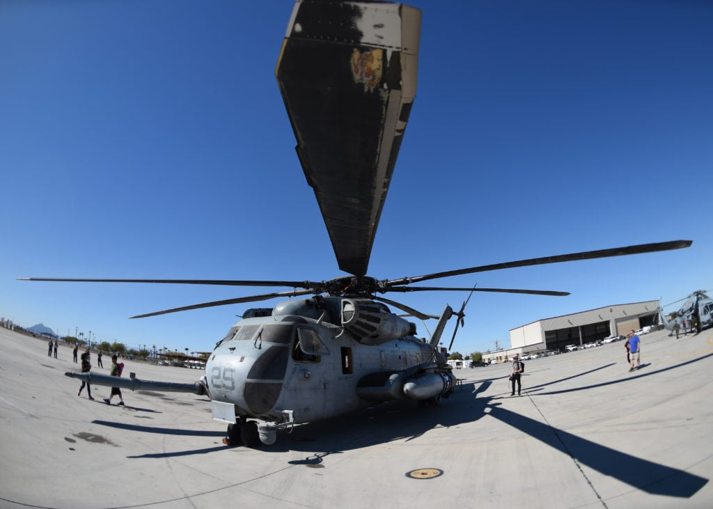 A U.S. Marine Corps CH-53E Super Stallion sits on the flightline at Naval Air Facility El Centro, California, March 11, 2017, during the 2017 NAF El Centro Airshow. The CH-53 is the heaviest and largest helicopter used in the U.S. military, capable of carrying 16 tons of cargo or enough Marines for combat or humanitarian missions. (U.S. Air Force photo by Airman 1st Class Kirby Turbak/Released)