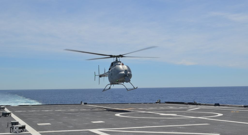 The MQ-8C Fire Scout unmanned helicopter conducts first test flight from USS Montgomery (LCS-8) April 5 off the coast of California. (U.S. Navy photo