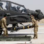 U.S. Army Soldiers assigned to Task Force Griffin, 16th Combat Aviation Brigade, 7th Infantry Division load an AGM-114 Hellfire missile on an AH-64E Apache helicopter in Kunduz, Afghanistan, May 31, 2017. The Griffins are working hard to support U.S. Forces Afghanistan as part of Operation Freedom's Sentinel and Resolute Support Mission.