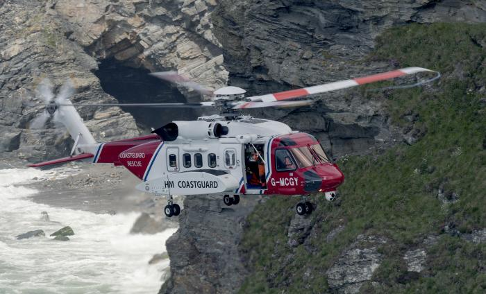 Helicopters operates S-92 helicopters on behalf of the UK Maritime and Coastguard Agency. (Image of Newquay SAR aircraft G-MCGY, photo copyright Bob Sharples Photography)