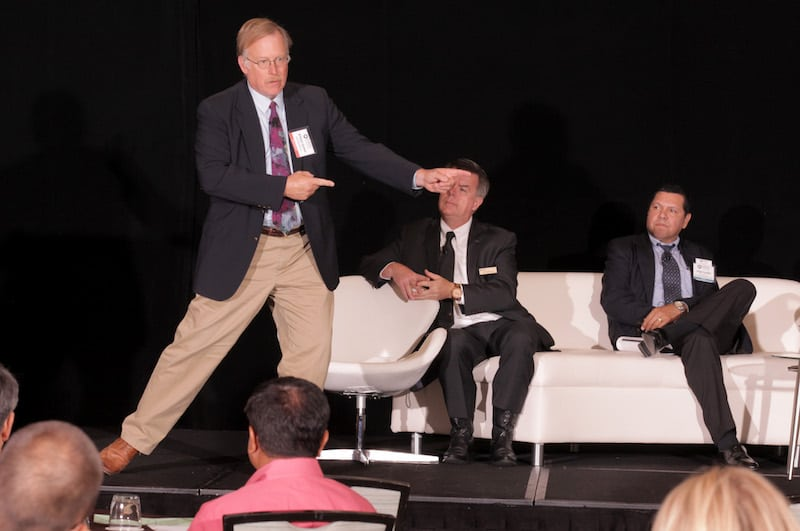 Airbus Helicopters Inc.'s William (Bill) Goebel presents during the Rotorcraft Business and Technology Summit. Photo by Ed Garza.
