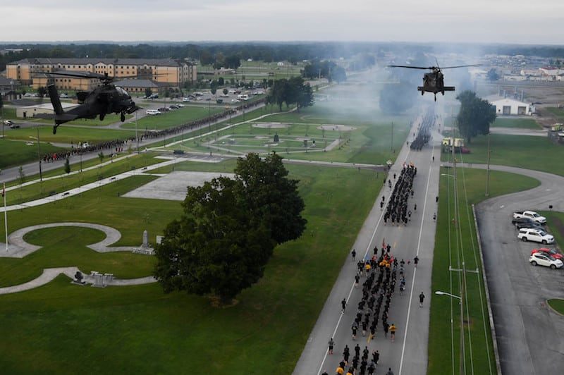 """Soldiers with the 101st Airborne Division (Air Assault) participate in a division run August 16, 2017 at Fort Campbell, Ky. The run commemorated a """"Legacy of Heroism"""" for the division's 75th birthday. (U.S. Army photo by Sgt. Marcus Floyd, 101st Combat Aviation Brigade)"""