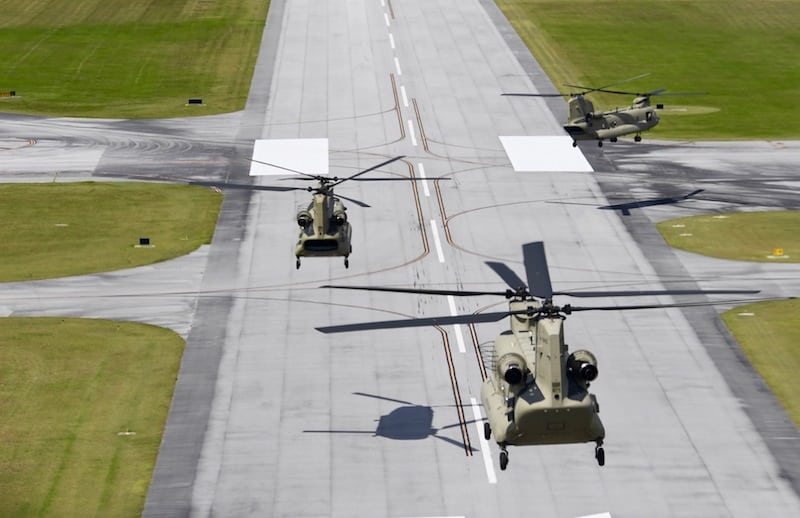 A serial of four CH-47 Chinook helicopters assigned to 6th Battalion, 101st General Aviation Support Battalion, 101st Combat Aviation Brigade, 101st Airborne Division (Air Assault) land in Mobile, Ala., Sept. 11. The helicopters stage at the Mobile Regional Airport and are part of a contingency operation to support Hurricane Irma relief operations, if called forward.