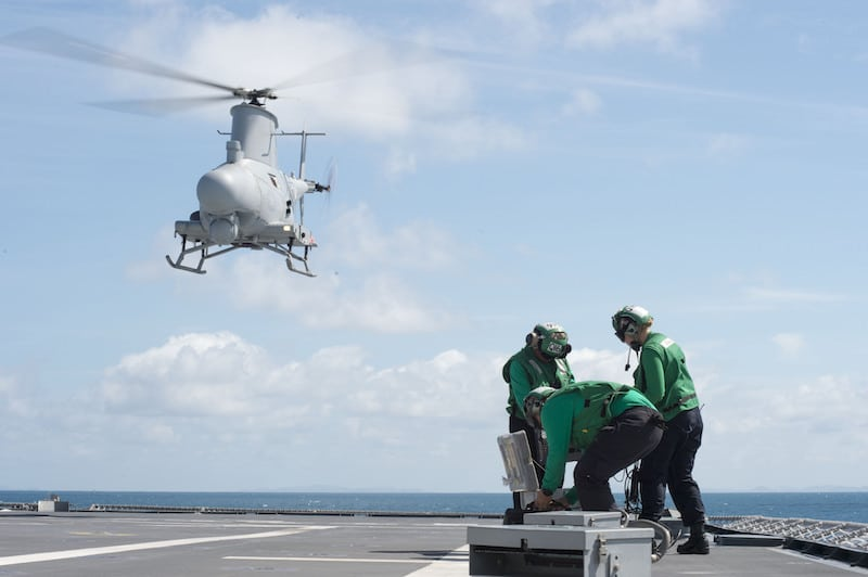 170602-N-PD309-051 GULF OF THAILAND (June 2, 2017) An MQ-8B Firescout unmanned aerial vehicle takes off from the littoral combat ship USS Coronado (LCS 4) during Cooperation Afloat Readiness and Training (CARAT) Thailand. CARAT is a series of Pacific Command-sponsored, U.S Pacific Fleet-led bilateral exercises held annually in South and Southeast Asia to strengthen relationships and enhance force readiness. CARAT exercise events cover a broad range of naval skill areas and disciplines including surface, undersea, air, and amphibious warfare; maritime security operations; riverine, jungle, and explosive ordnance disposal operations; combat construction; diving and salvage; search and rescue; maritime patrol and reconnaissance aviation; maritime domain awareness; military law, public affairs and military medicine; and humanitarian assistance and disaster response. (U.S. Navy photo by Mass Communication Specialist 3rd Class Deven Leigh Ellis/Released)