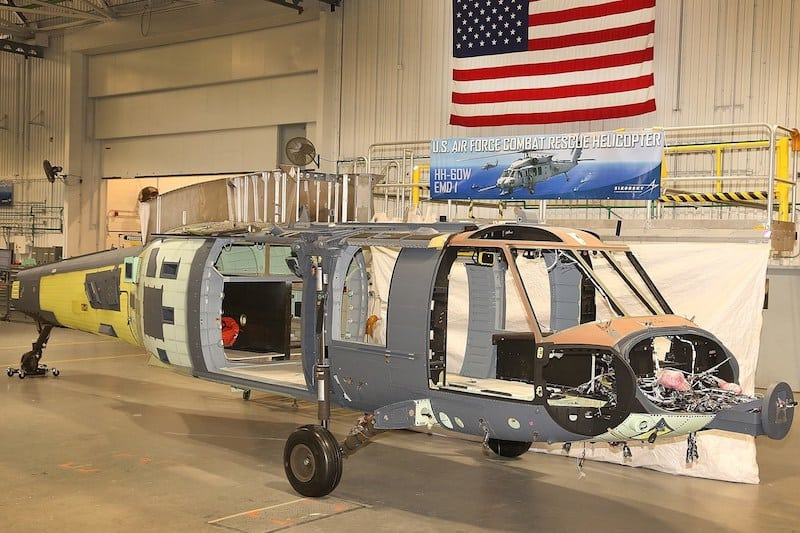 The first Sikorsky HH-60W Combat Rescue Helicopter as it enters final assembly at Stratford, Connecticut. The timing of final assembly supports the programís accelerated schedule and positions the aircraftís first flight for the end of this year, two months ahead of schedule. Image courtesy of Sikorsky, a Lockheed Martin Company. (PRNewsfoto/Lockheed Martin)