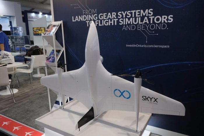 SkyX's SkyTwo drone on display at Farnborough Air Show