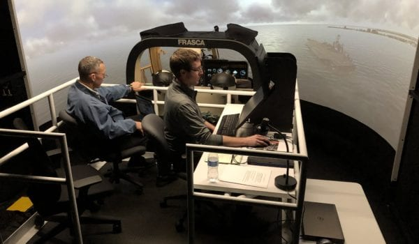 Showcasing the advanced visual display of the new TH-57 simulator system.