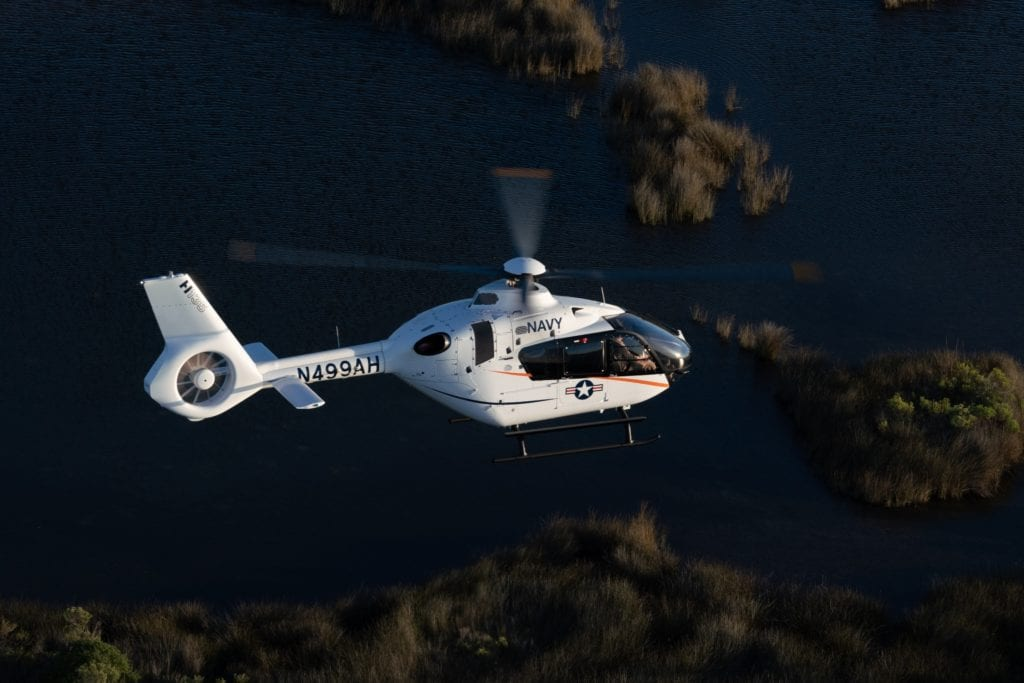Airbus' H135, the company's offering for the next-generation Navy trainer.