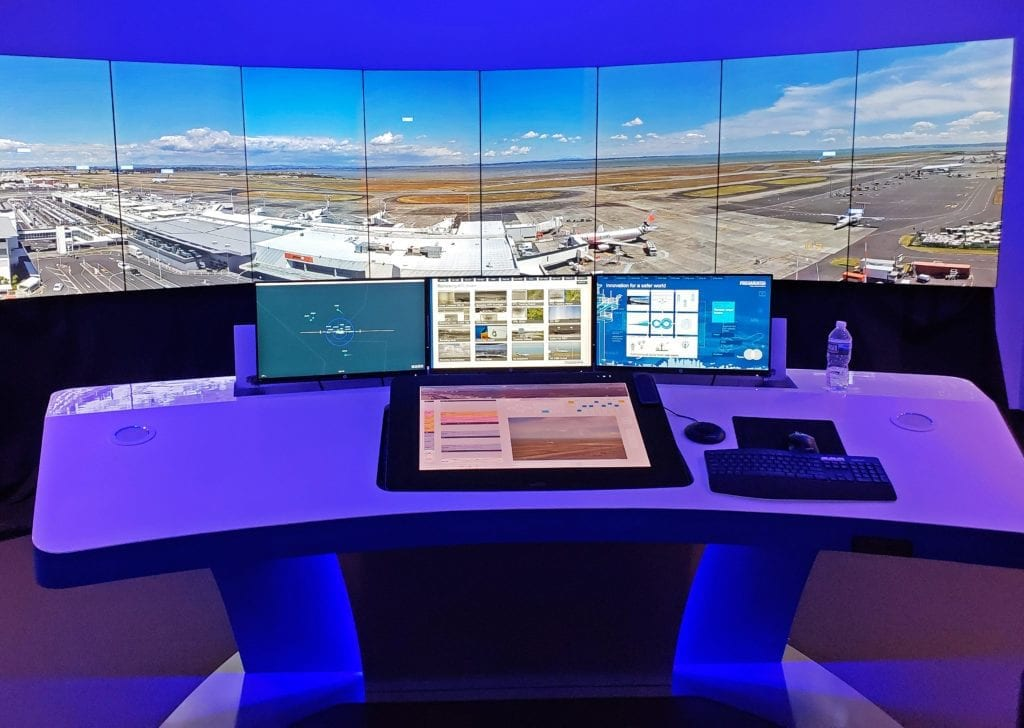 Frequentis' remote virtual tower setup in the company's new Innovation Center in Columbia, Maryland.