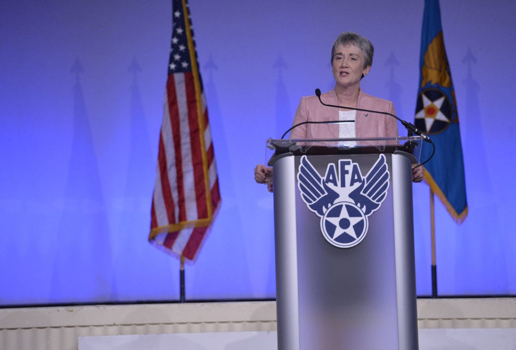 "Secretary of the Air Force Heather Wilson delivers her ""Air Force We Need"" speech during the Air Force Association's Air, Space and Cyber Conference in National Harbor, Maryland, Sept. 17, 2018. (U.S. Air Force photo by Tech. Sgt. DeAndre Curtiss)"