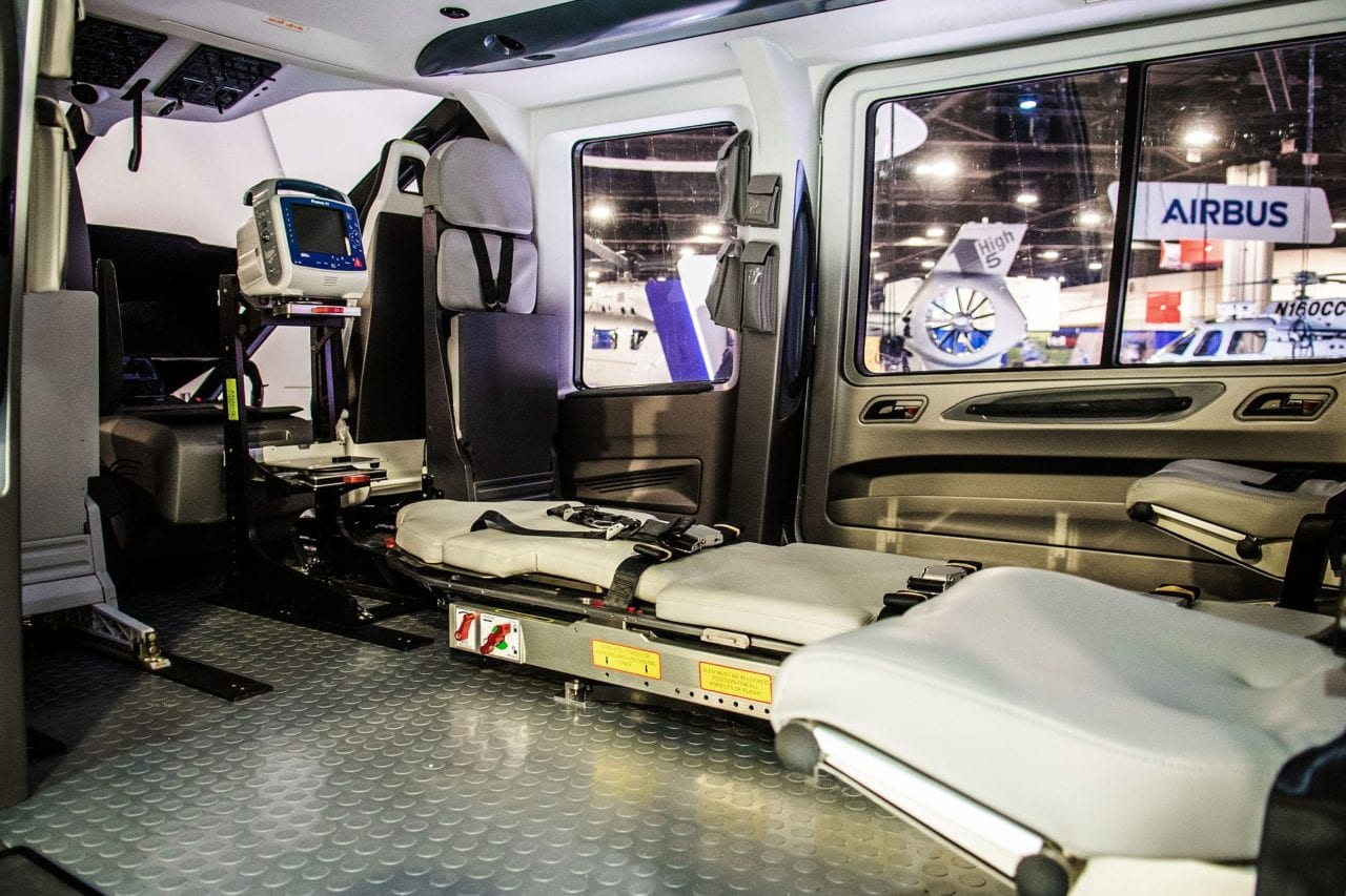 Airbus' H160 EMS cabin concept debuted at Heli Expo, created by Metro Aviation.