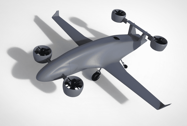 A computer rendering of Sabrewing's Rhaegal EVTOL cargo aircraft. Photo: Sabrewing