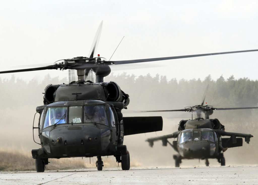 Two UH-60 Blackhawks assigned to U.S. Army Europe's 12th Combat Aviation Brigade. (SPC. Glenn M. Anderson, USAREUR Public Affairs)