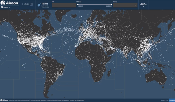 An image of Aireon's space-based ADS-B global traffic dashboard. (Aireon)