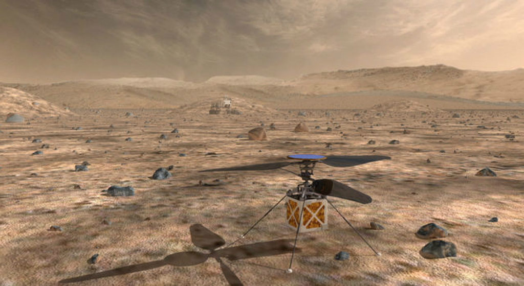 A rendering of NASA's autonomous Mars Helicopter on the Martian Surface.