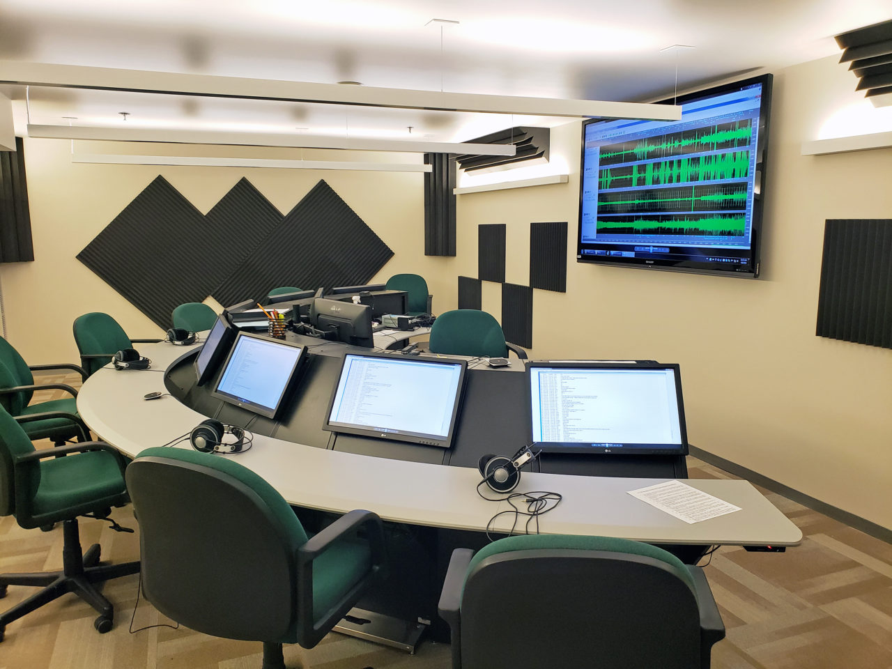 The listening room at NTSB headquarters, showing audio from the US Airways Flight 1549 crash into the Hudson River. (Nick Zazulia)