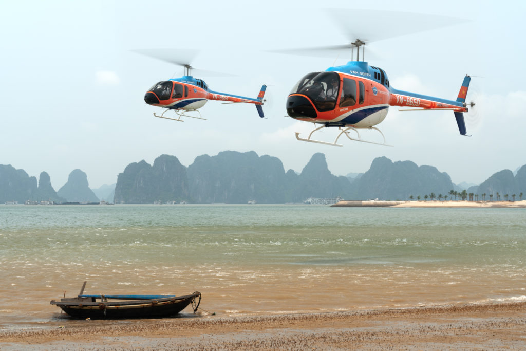 VNH North Bell 505 helicopters in Ha Long Bay