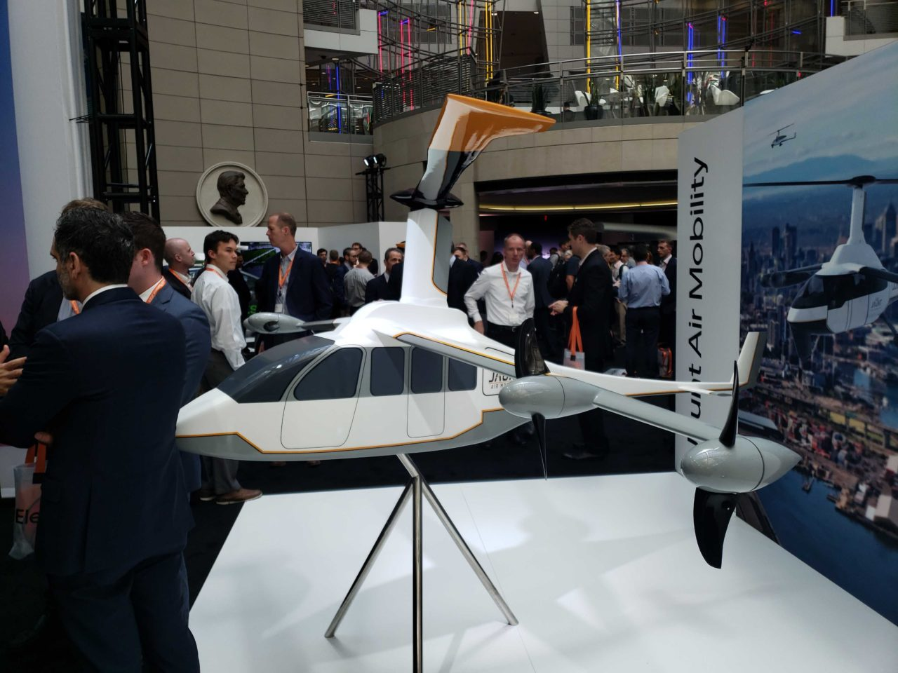 Jaunt Air Mobility, recently announced as Uber's sixth partner, displays their aircraft model at Uber Elevate.