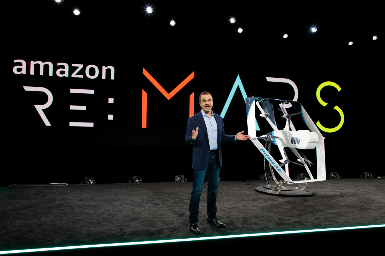 Amazon's Jeff Wilke unveils the company's new all-electric delivery drone design at re:MARS.