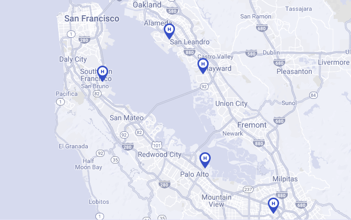 Voom's area of operation in the San Francisco Bay Area.